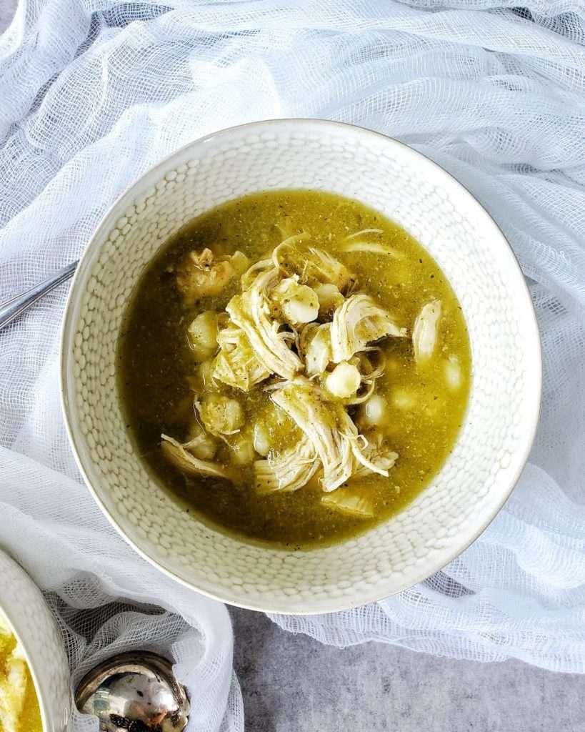Chicken Posole Verde Soup in Bowl