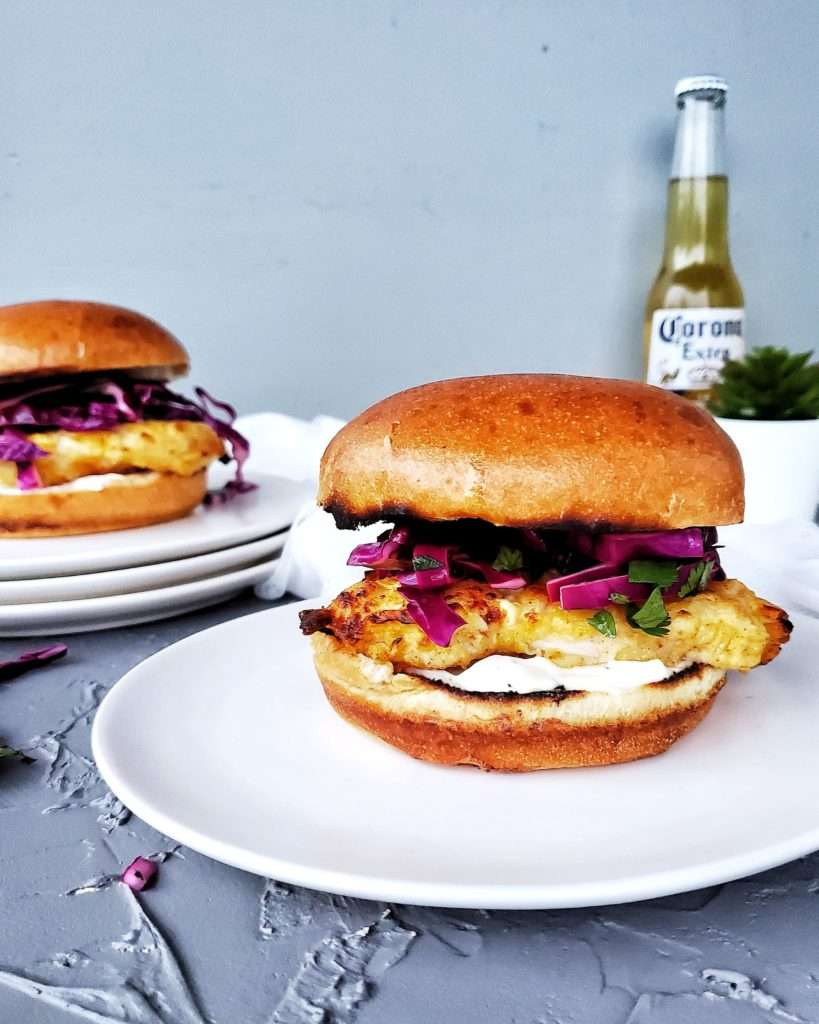 Healthy Crispy Chicken Burgers on a plate