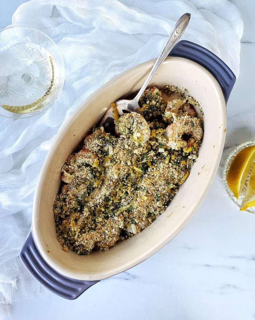 Easy Italian Shrimp Oreganata in baking dish