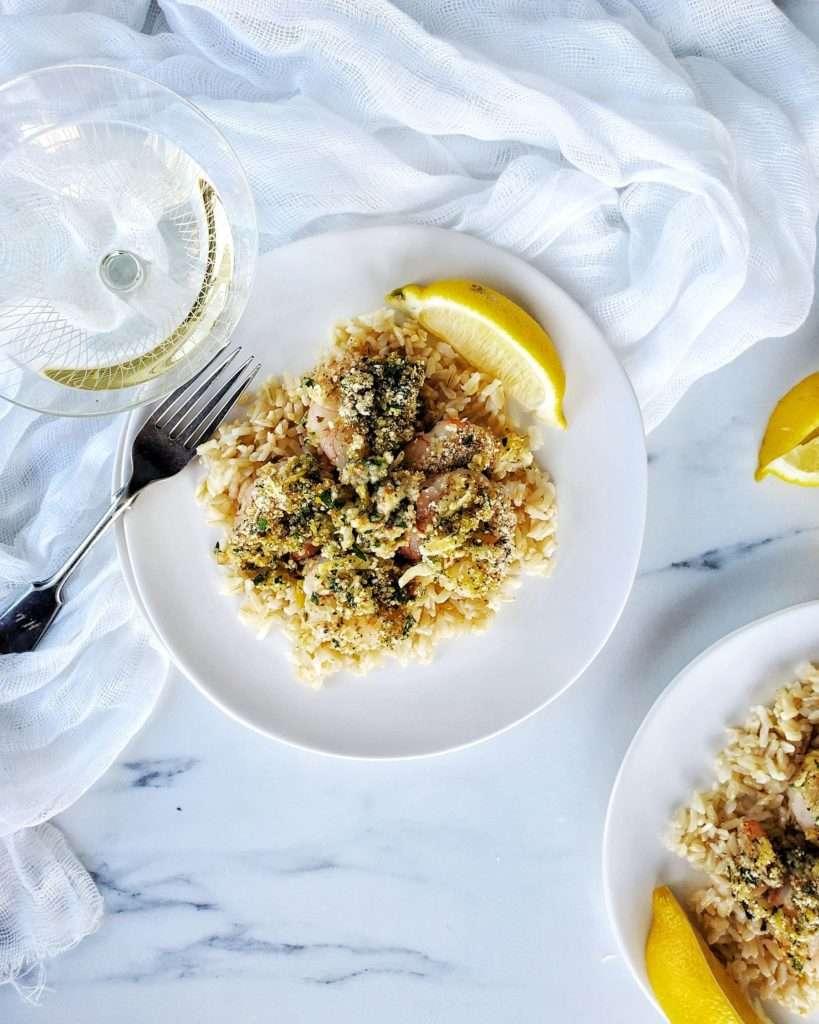 Easy Italian Shrimp Oreganata on plate