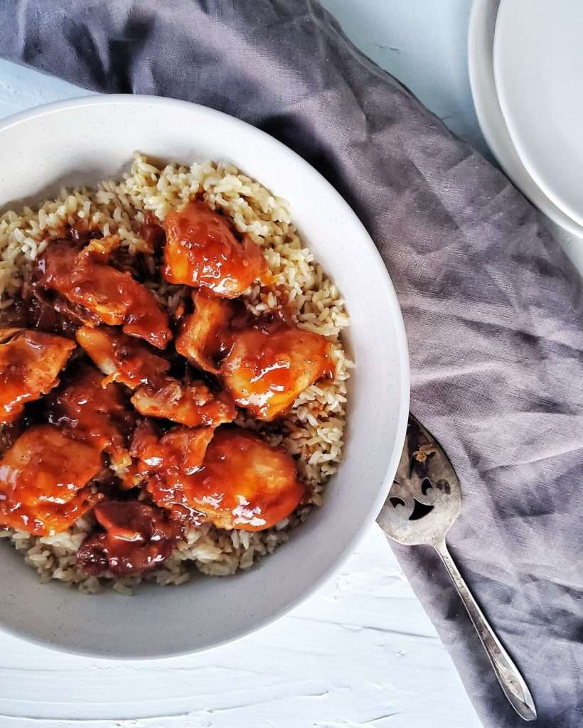 Instant Pot Honey Bourbon Chicken in serving bowl