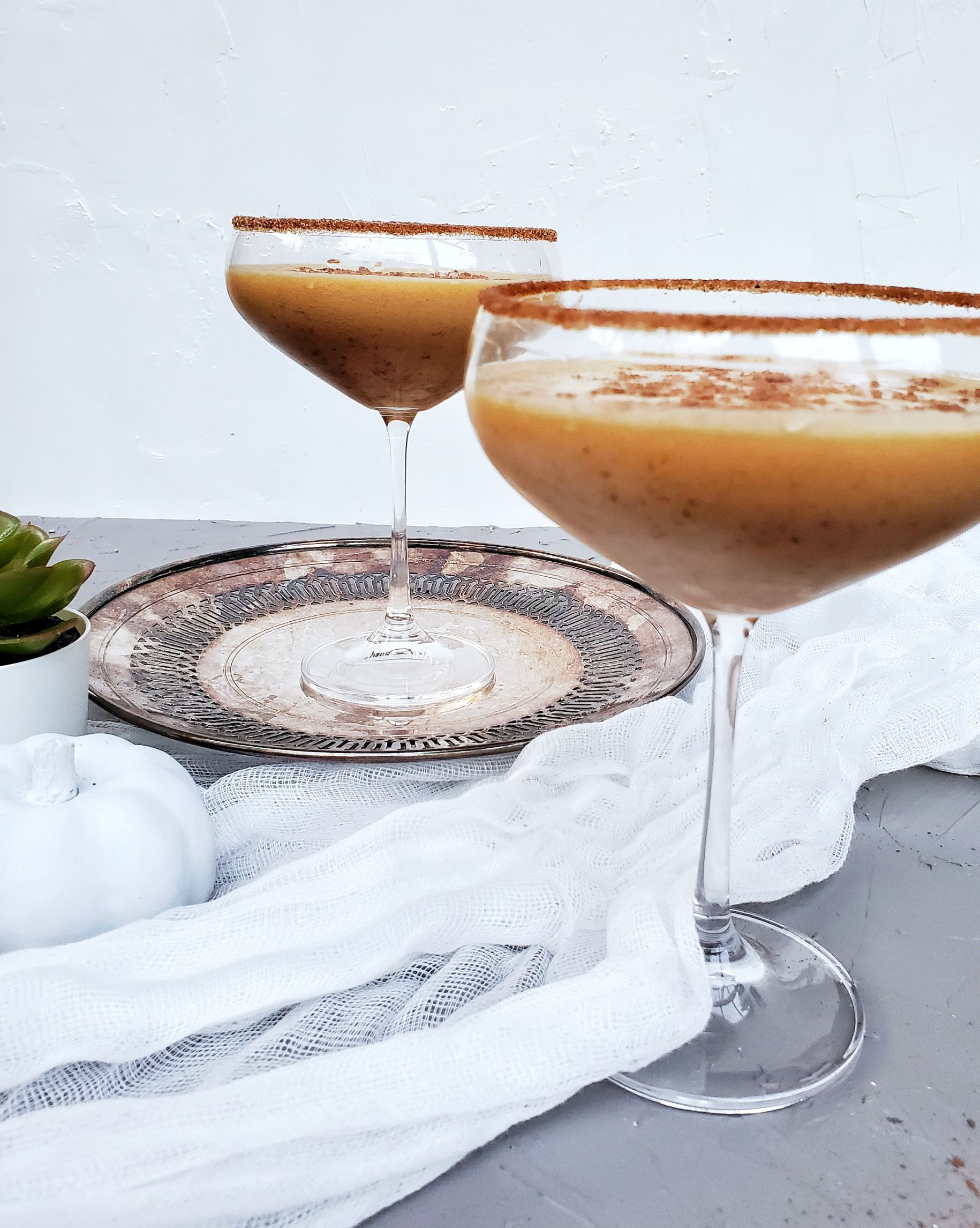 pumpkin brandy alexander cocktails side view