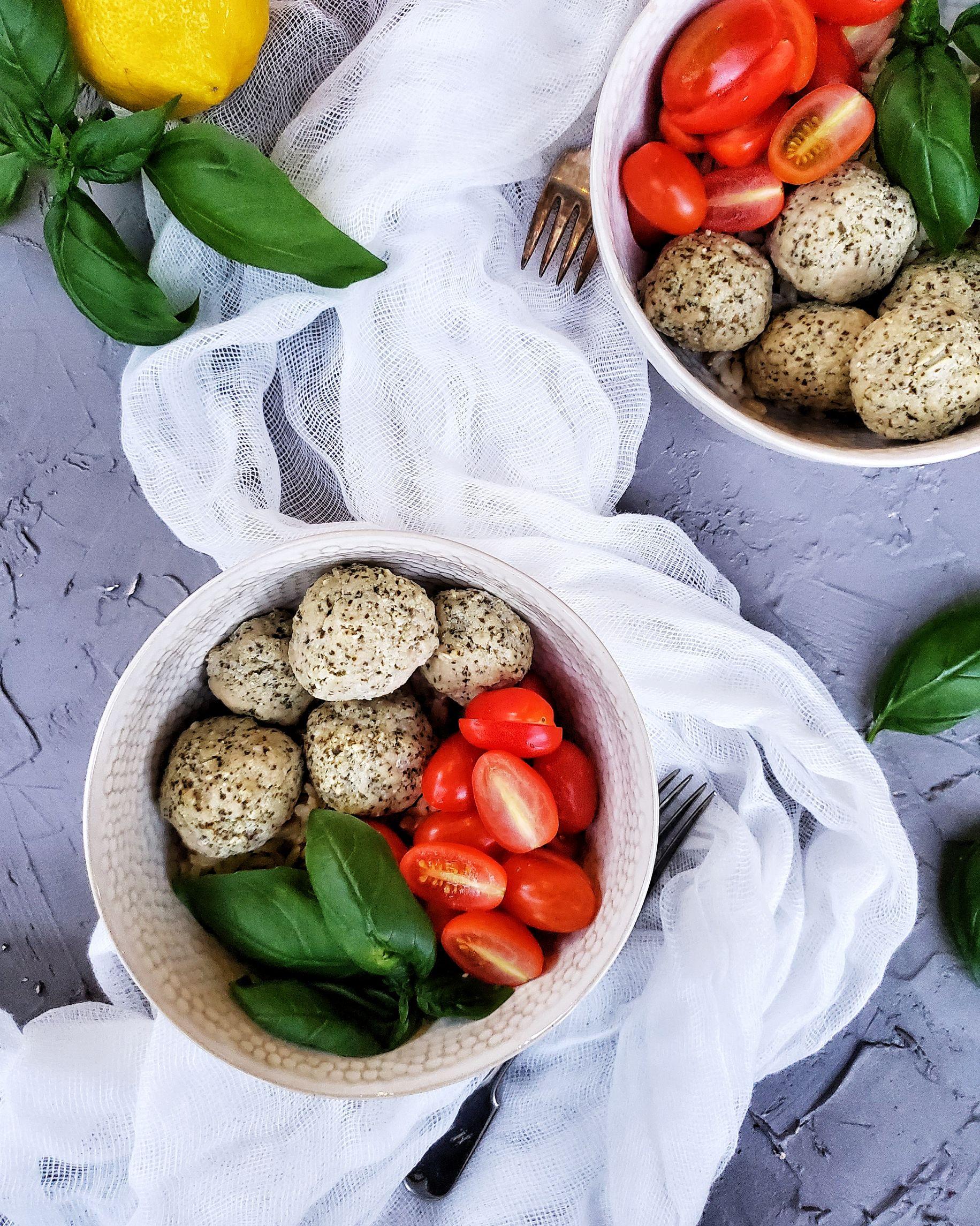 baked turkey pesto meatballs in bowls