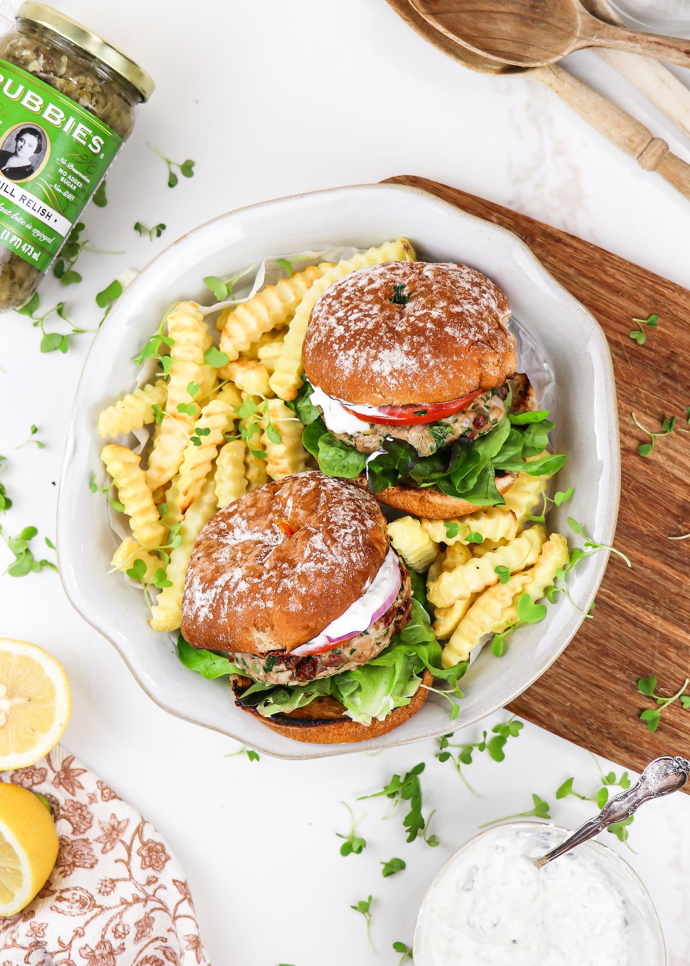 Mediterranean Turkey Burgers (Easy Recipe) Bubbies x abrightmoment.com