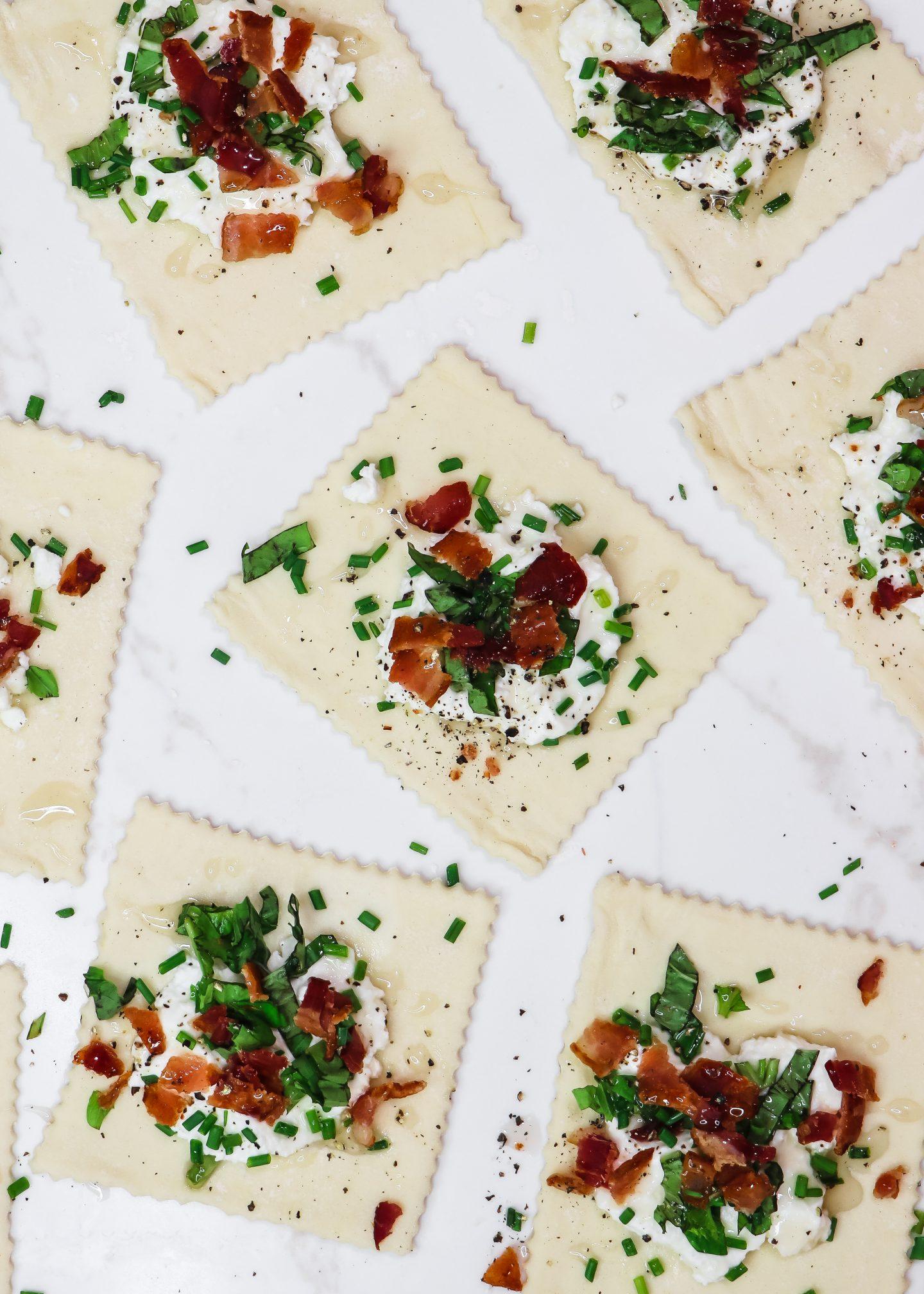 Creamy Ricotta, Honey Basil, & Bacon Puff Pastries