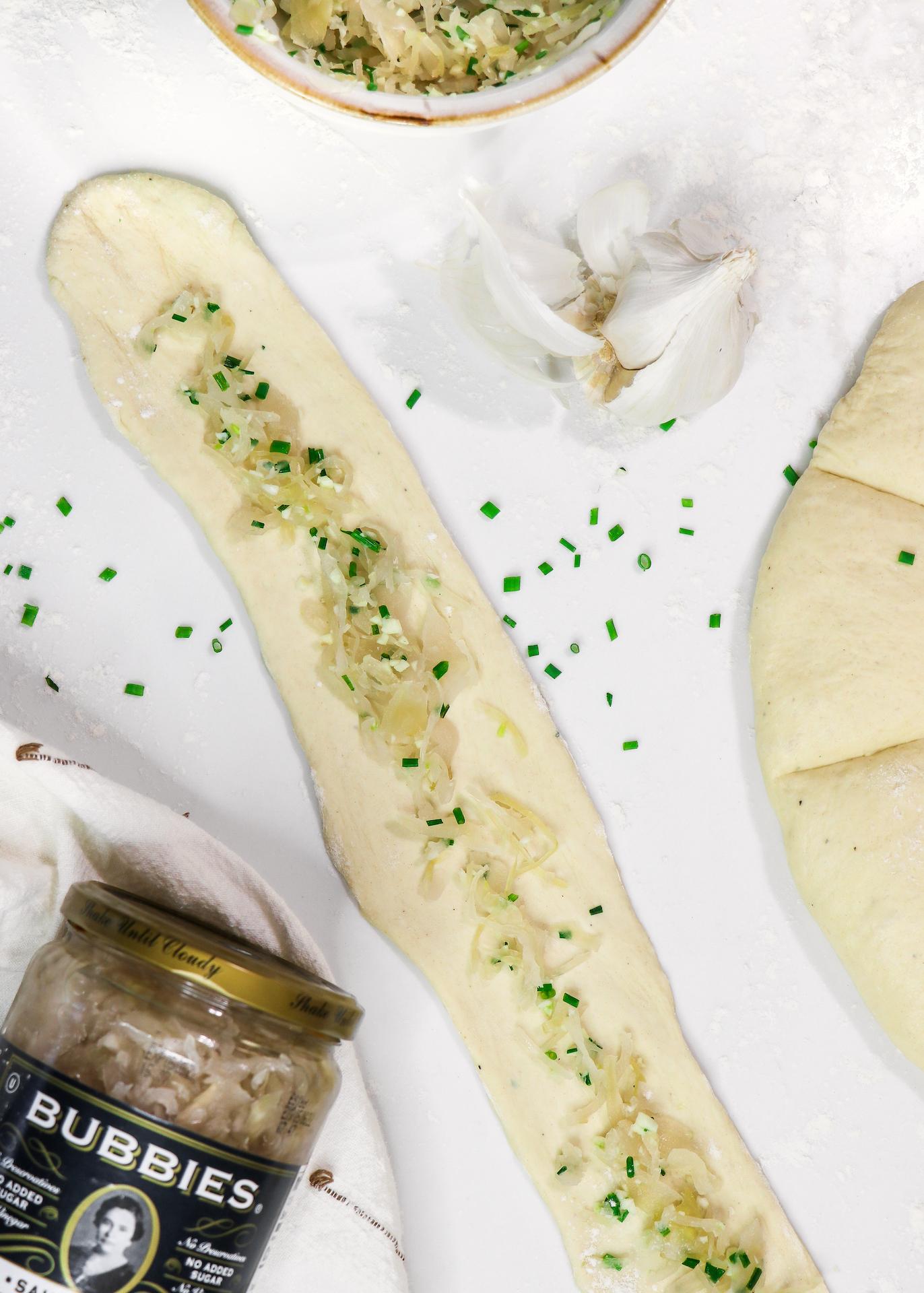 Garlic, Chive, & Sauerkraut German Pretzels