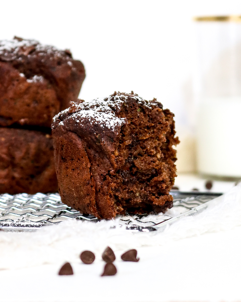 Double Chocolate Olive Oil Zucchini Muffins