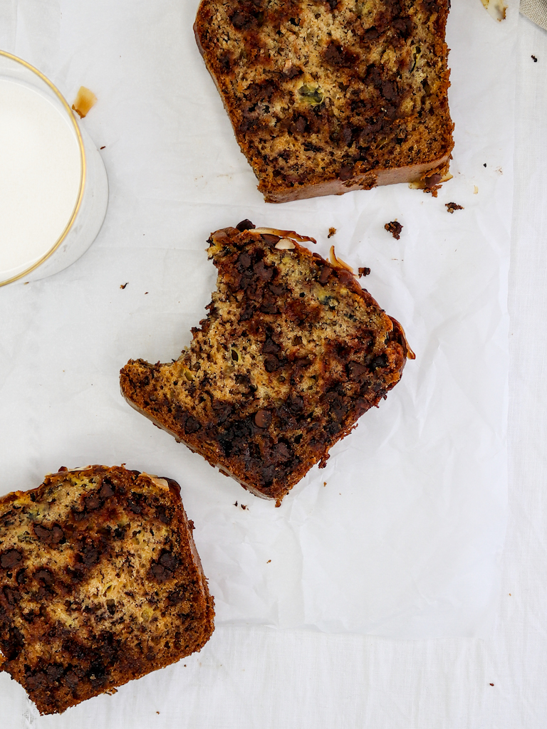 Dark Chocolate & Coconut Banana Bread