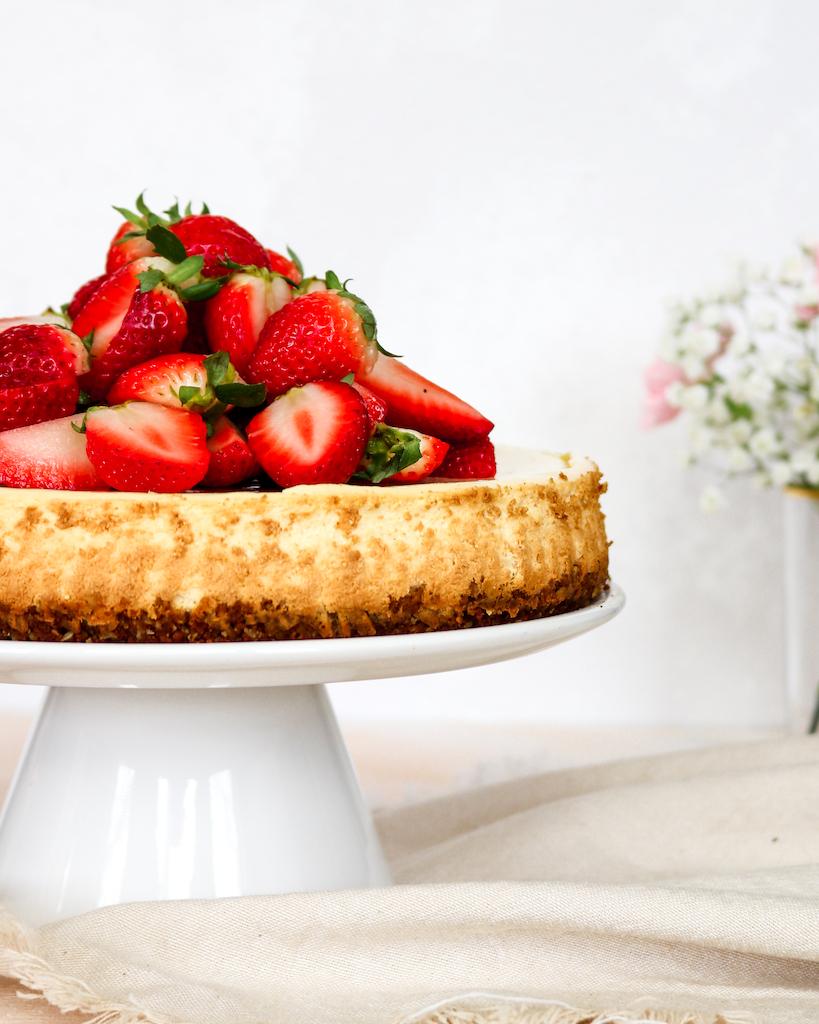 Strawberry & Lemon Cheesecake (Greek Yogurt-based) - Food Photography
