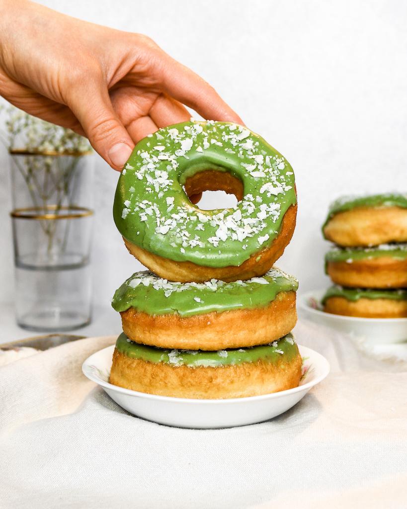 Matcha Brioche Donuts (No Butter Recipe)