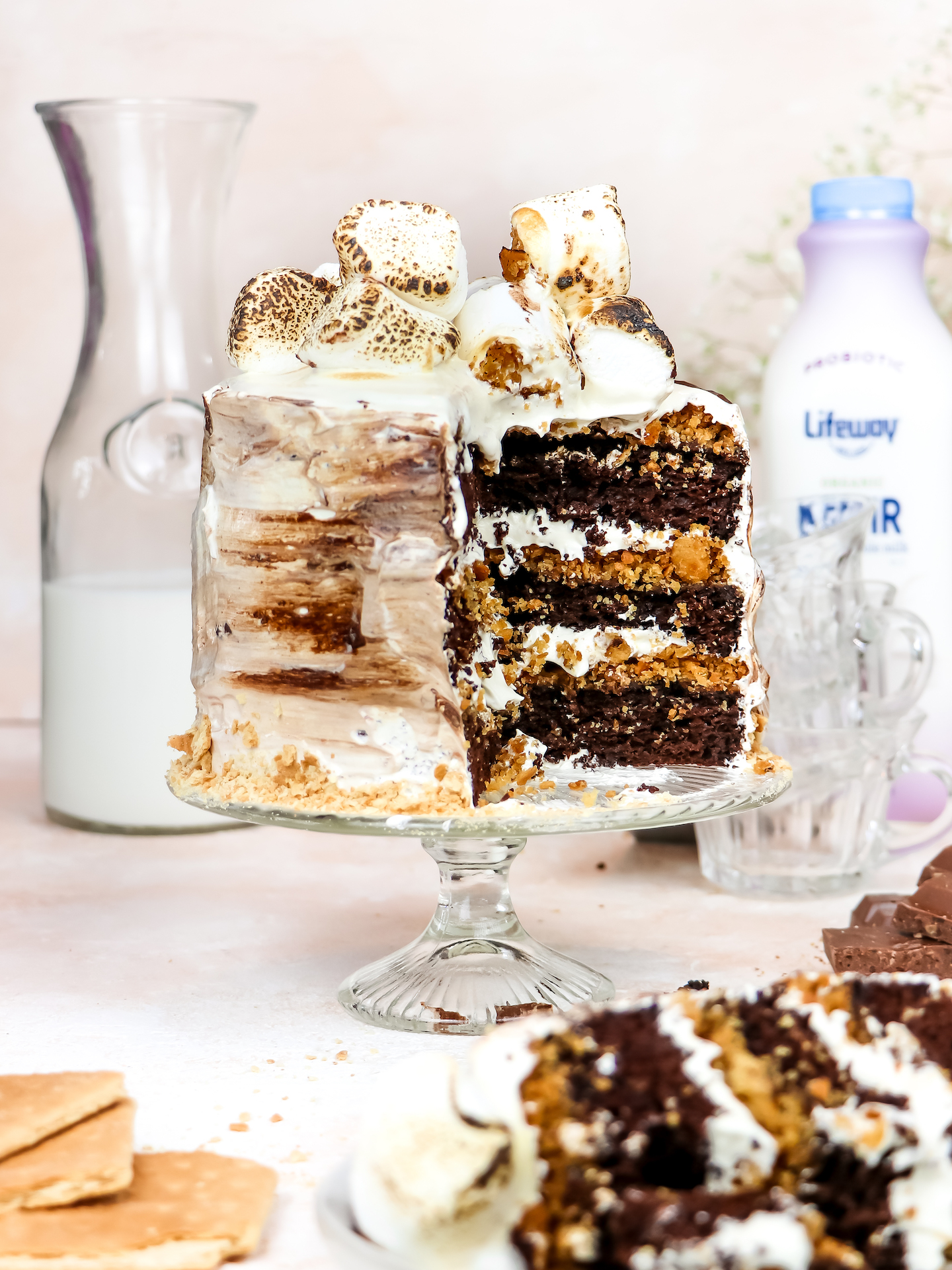 S'mores Layered Cake (Olive Oil Chocolate Cake Made with Kefir)