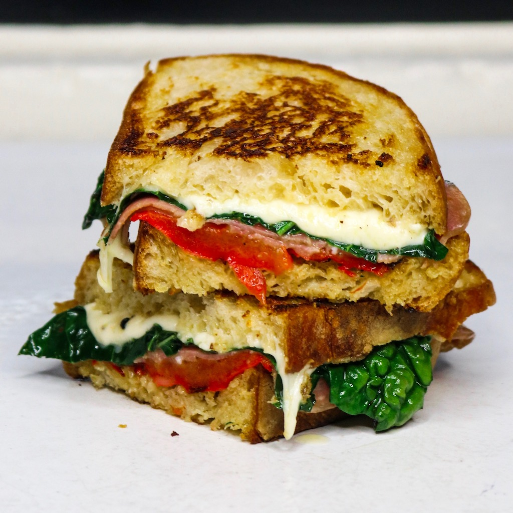 Red Pepper, Kale, Salami & Mozzarella Grilled Cheese