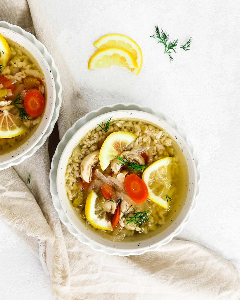 Lemon Chicken & Brown Rice Soup (Immune-Boosting)