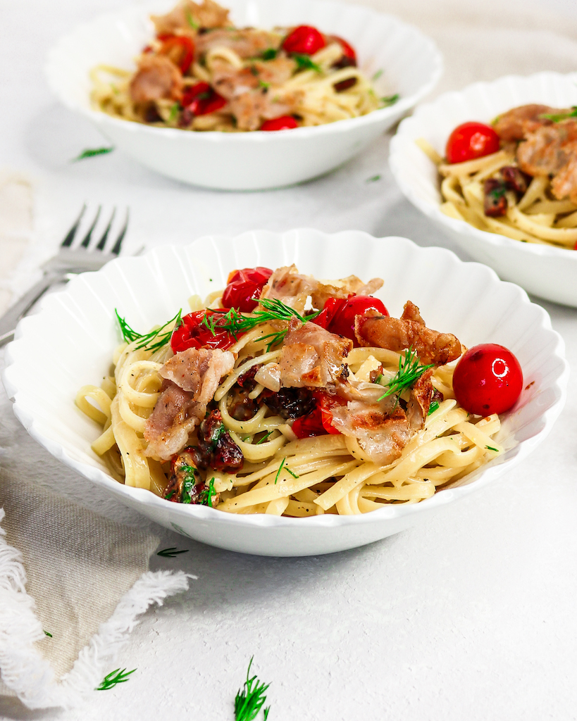 Crispy Prosciutto & Roasted Tomato Carbonara