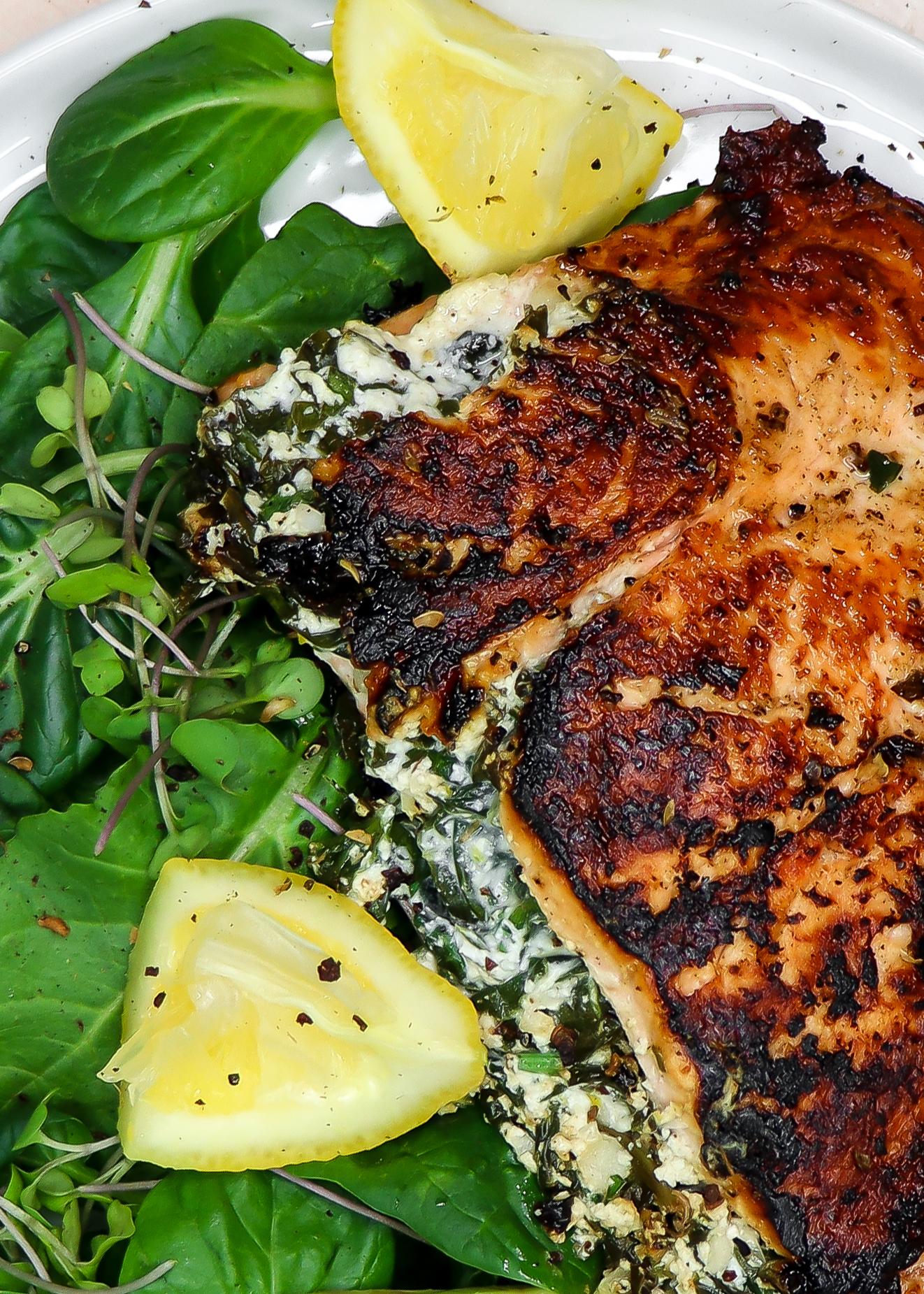 Creamy Farmers Cheese & Spinach Stuffed Salmon