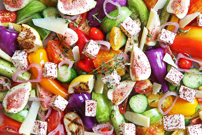 Close-up of a colorful Mediterranean salad