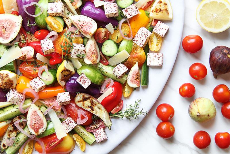 Colorful Mediterranean salad on a platter