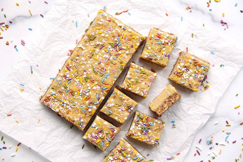 Birthday cake bars from above, cut into slices