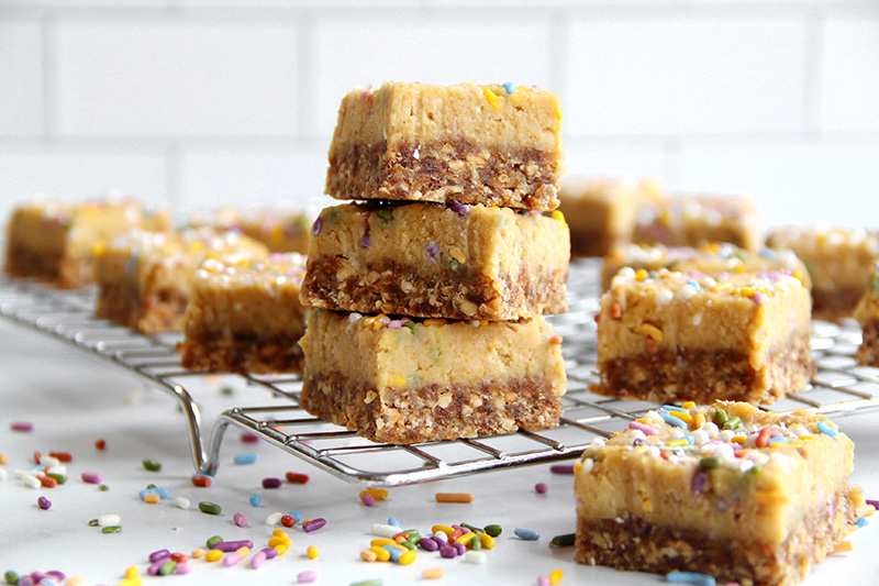 Birthday cake bars in a stack