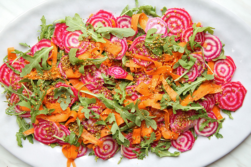 Colorful fall salad on a platter