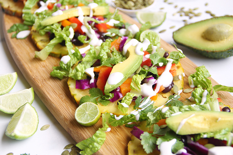 Close-up of tostadas on a serving board