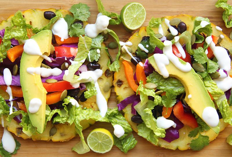 Close-up of two tostadas