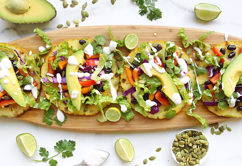 Colorful pineapple tostadas on a serving board
