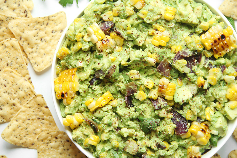 Grilled corn guacamole with chips