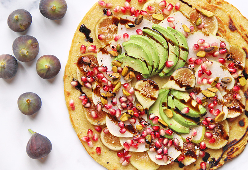 California Harvest Flatbread from above, with fresh figs