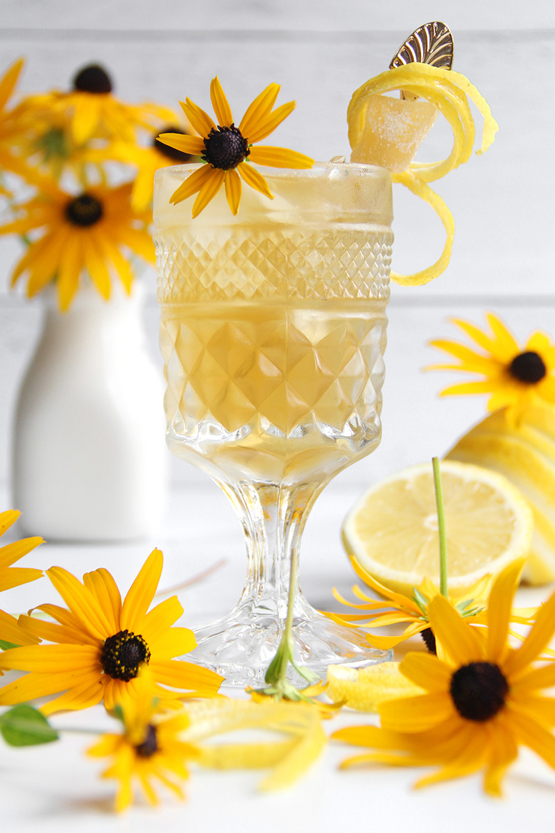 Ginger Bee's Knees cocktail with garnishes and flowers