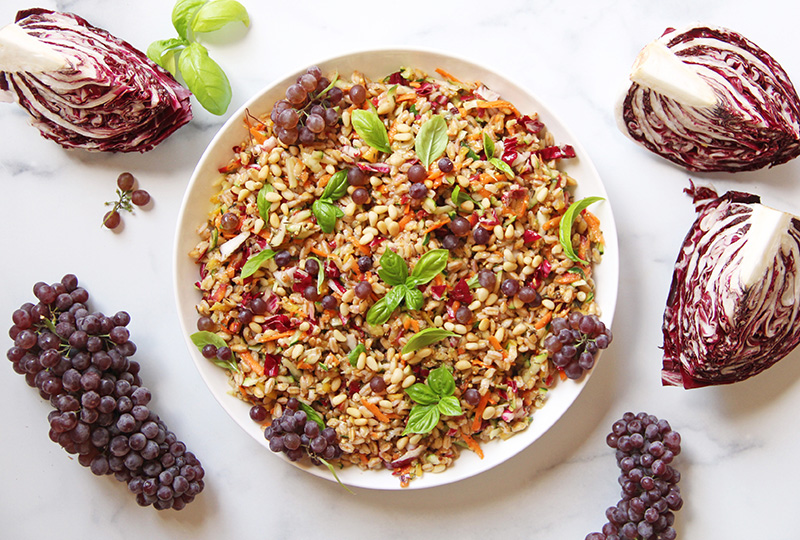 Colorful farro salad with radicchio and grapes