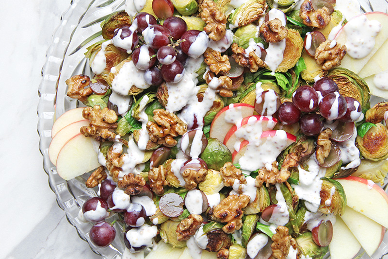 Roasted Brussel Sprout Waldorf Salad on a platter