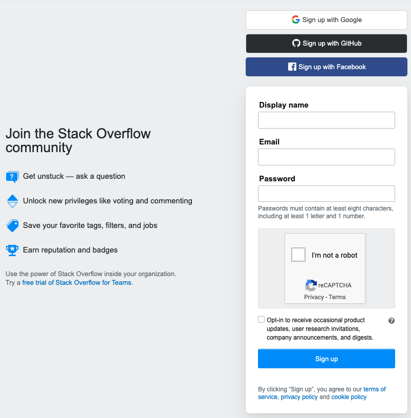 Stack Overflow Registration Page