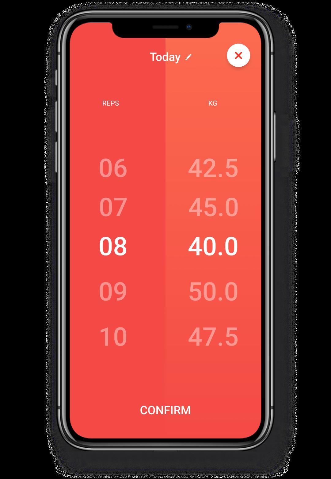 Screenshot showcasing the weight selection flow