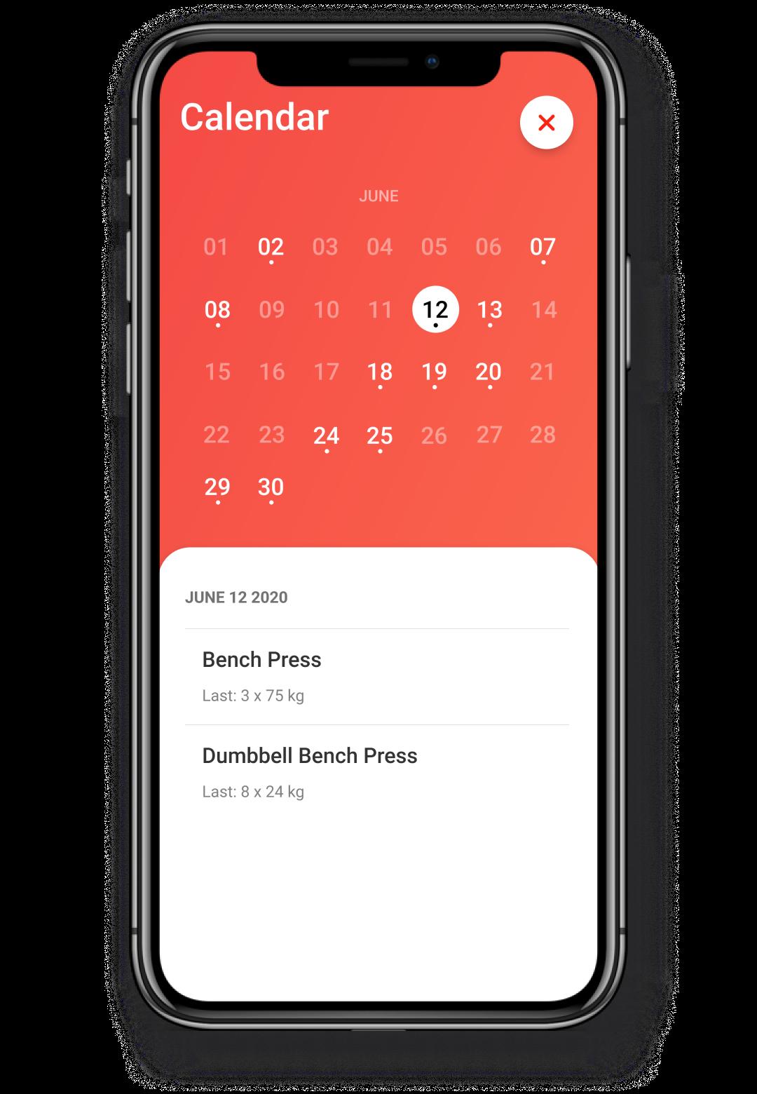 Screenshot showcasing the calendar feature
