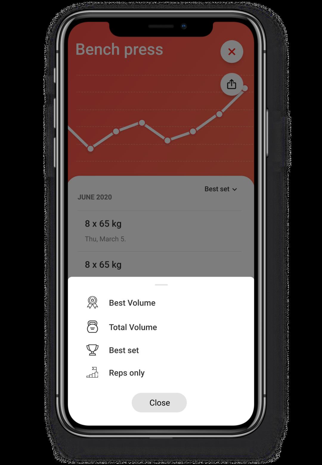 Screenshot showcasing the progress and selection chart flow