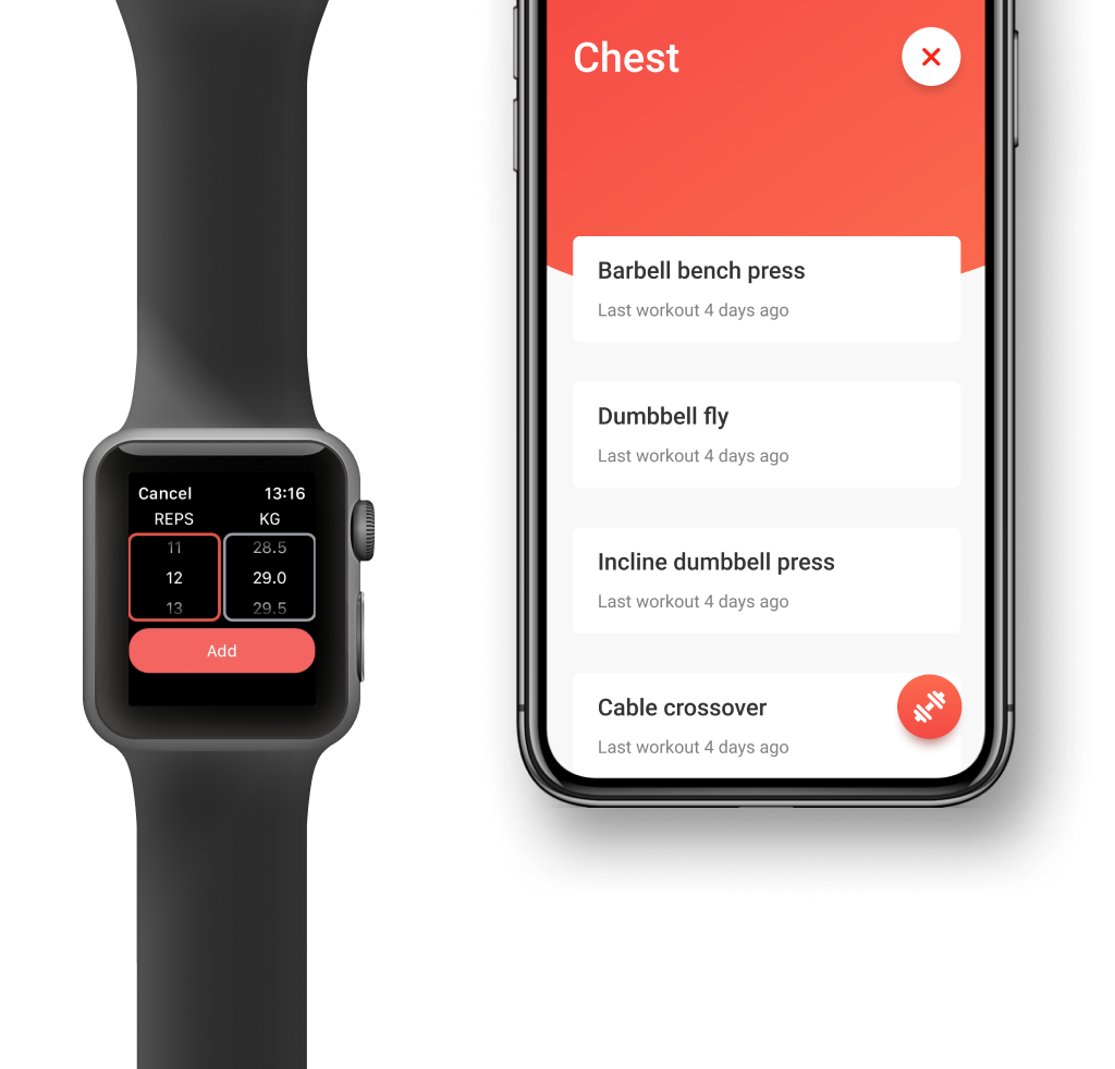 Screenshot showing the Apple Watch version of Strongify