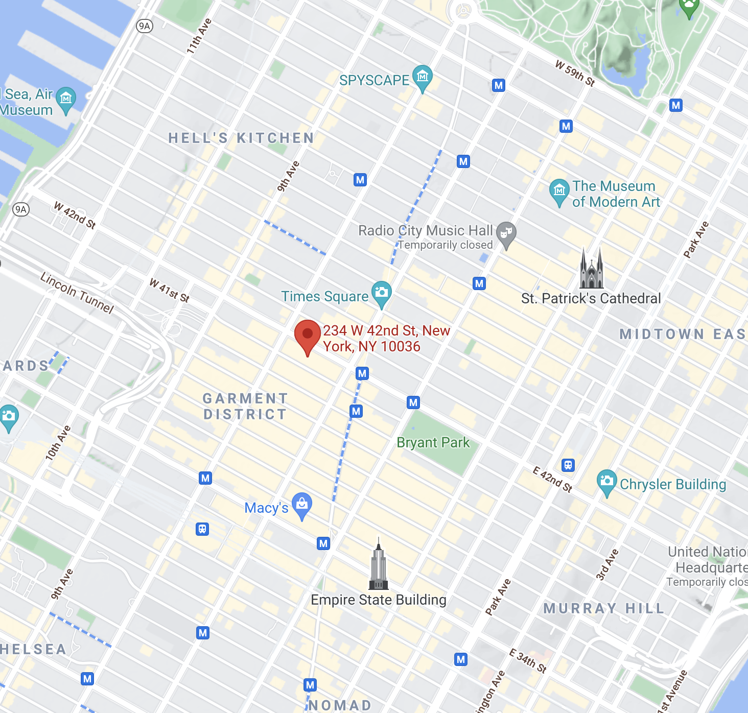 Map of Times Square with Showstoppers location marked