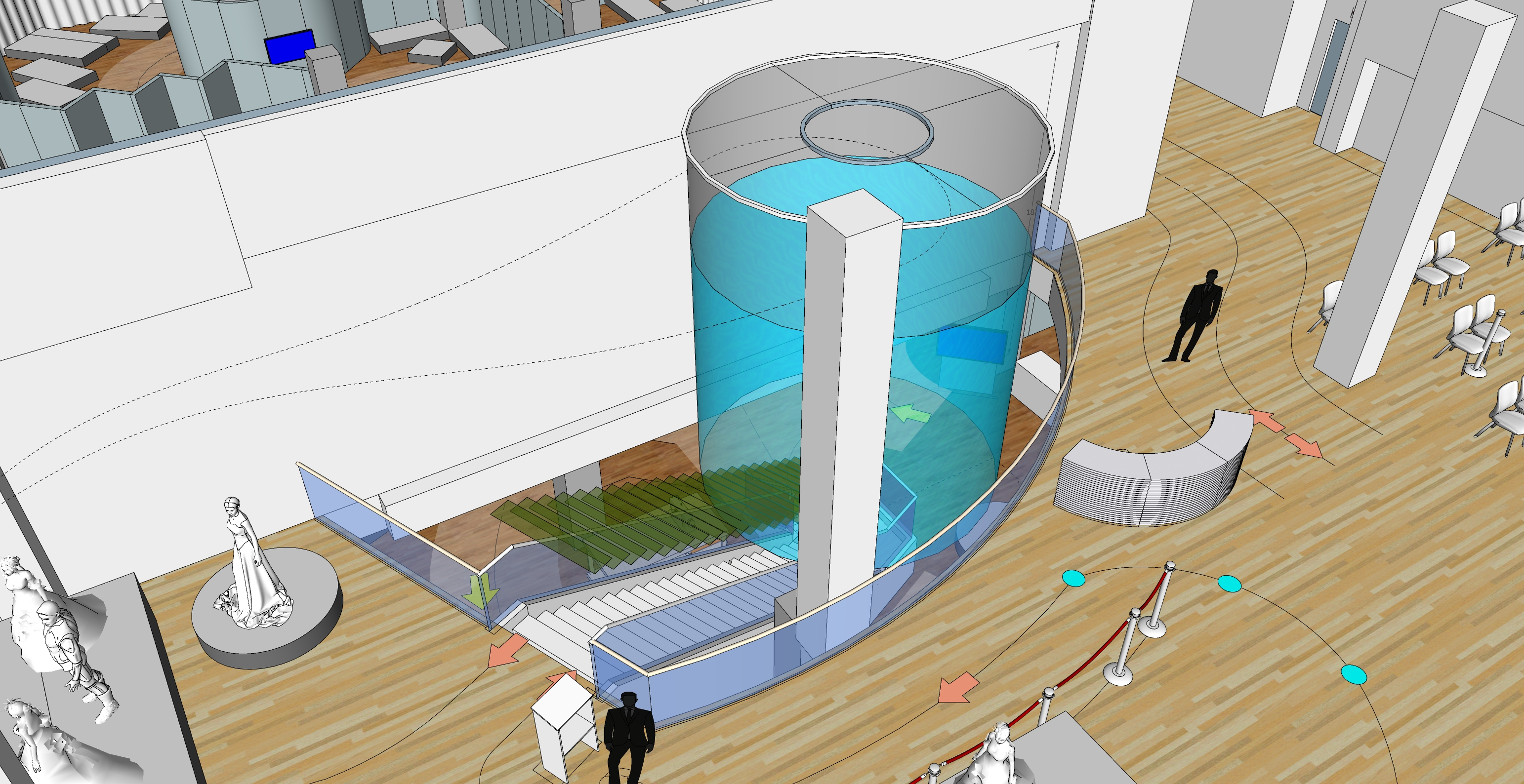Rendering of upper level entry way of the exhibition.