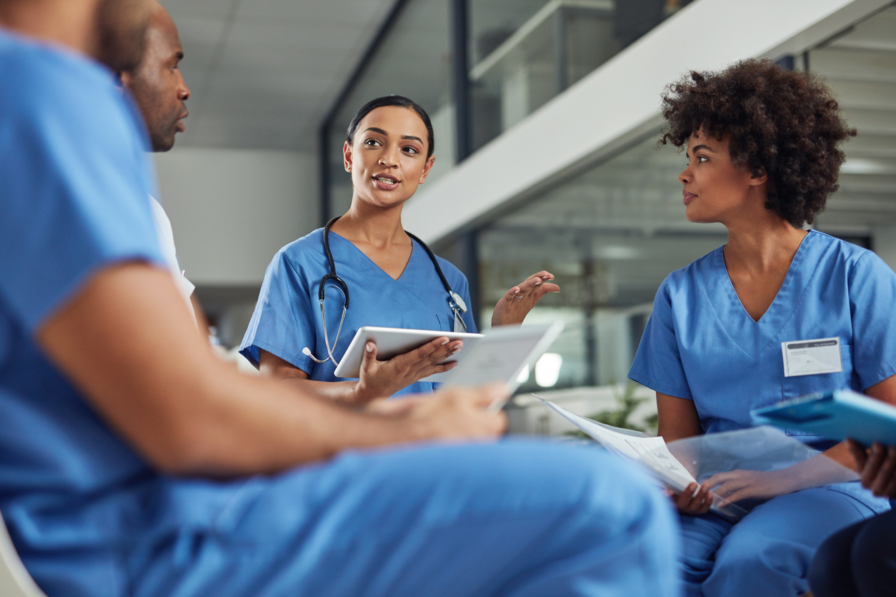 Nurses talking with references