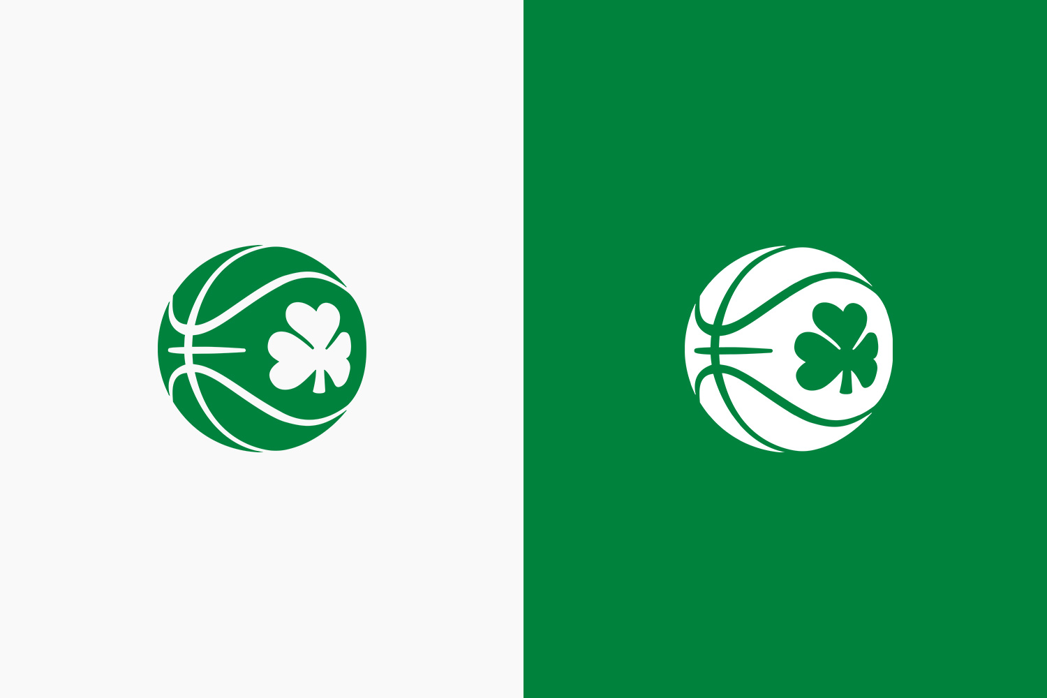 Green and white side by side comparison of the new basketball ireland logo designed by Adam Ingle