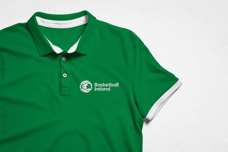 New Basketball Ireland logo on polo neck shirt