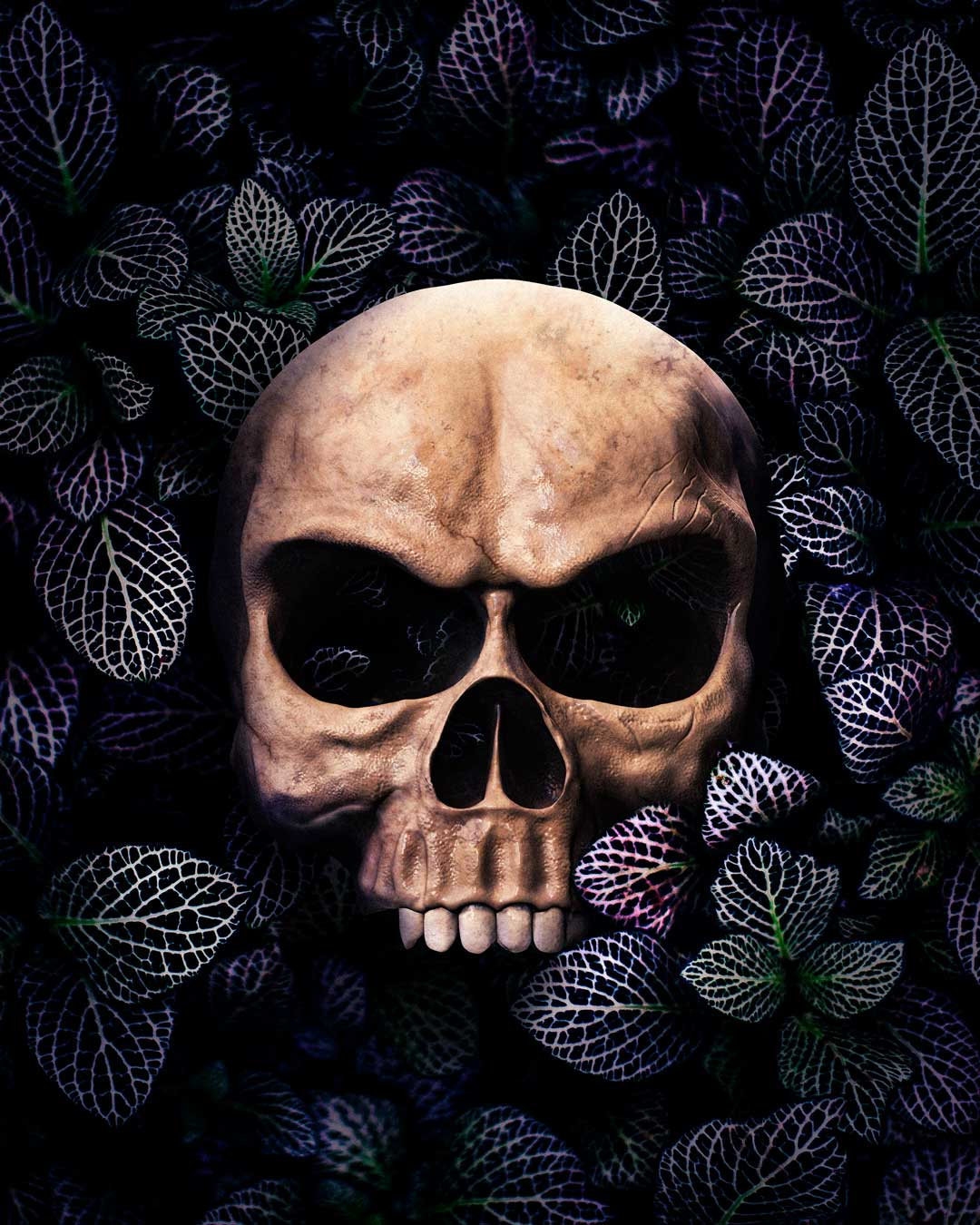 skull in a bed of flowers