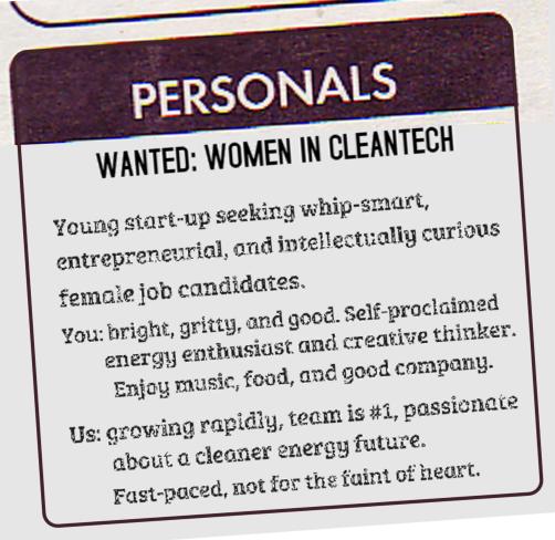 Wanted: Women in Cleantech