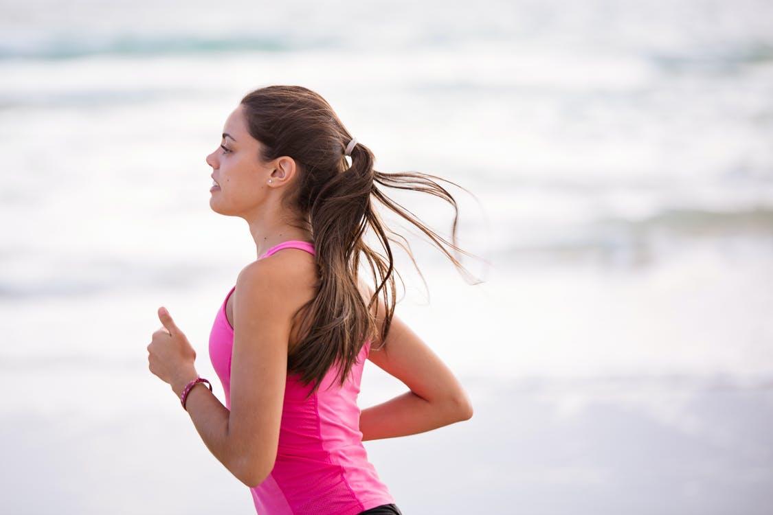 Mom running for exercise