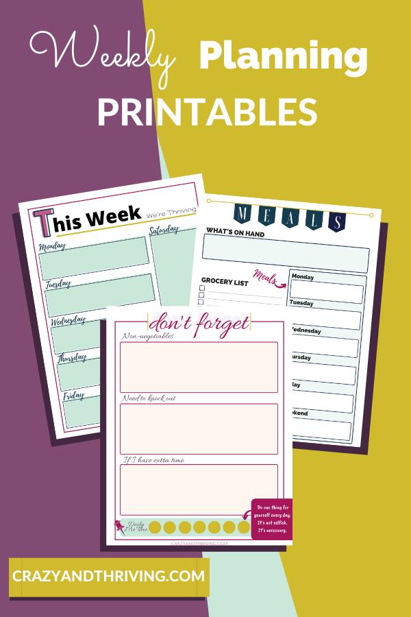 Weekly planning printables