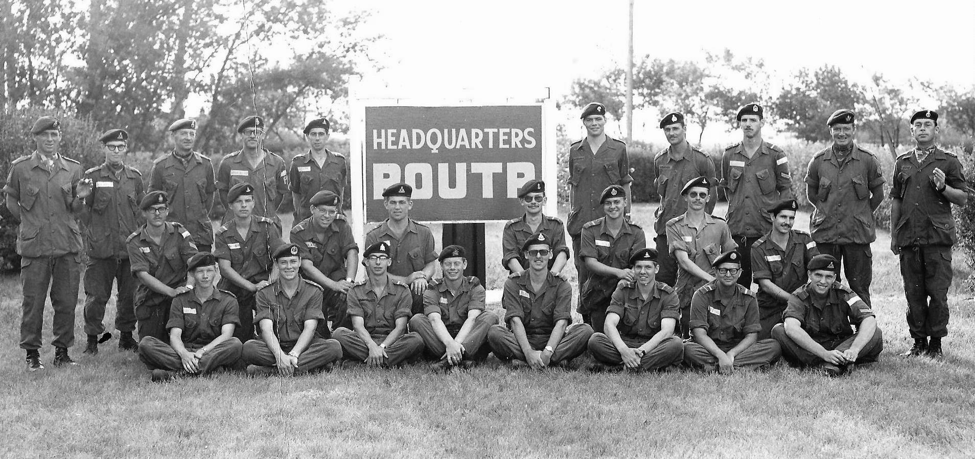 Reserve Officer University Training Plan (ROUTP) Officer Cadets, CFB Shilo, Manitoba, summer of 1973 (Author standing 3rd from the right)