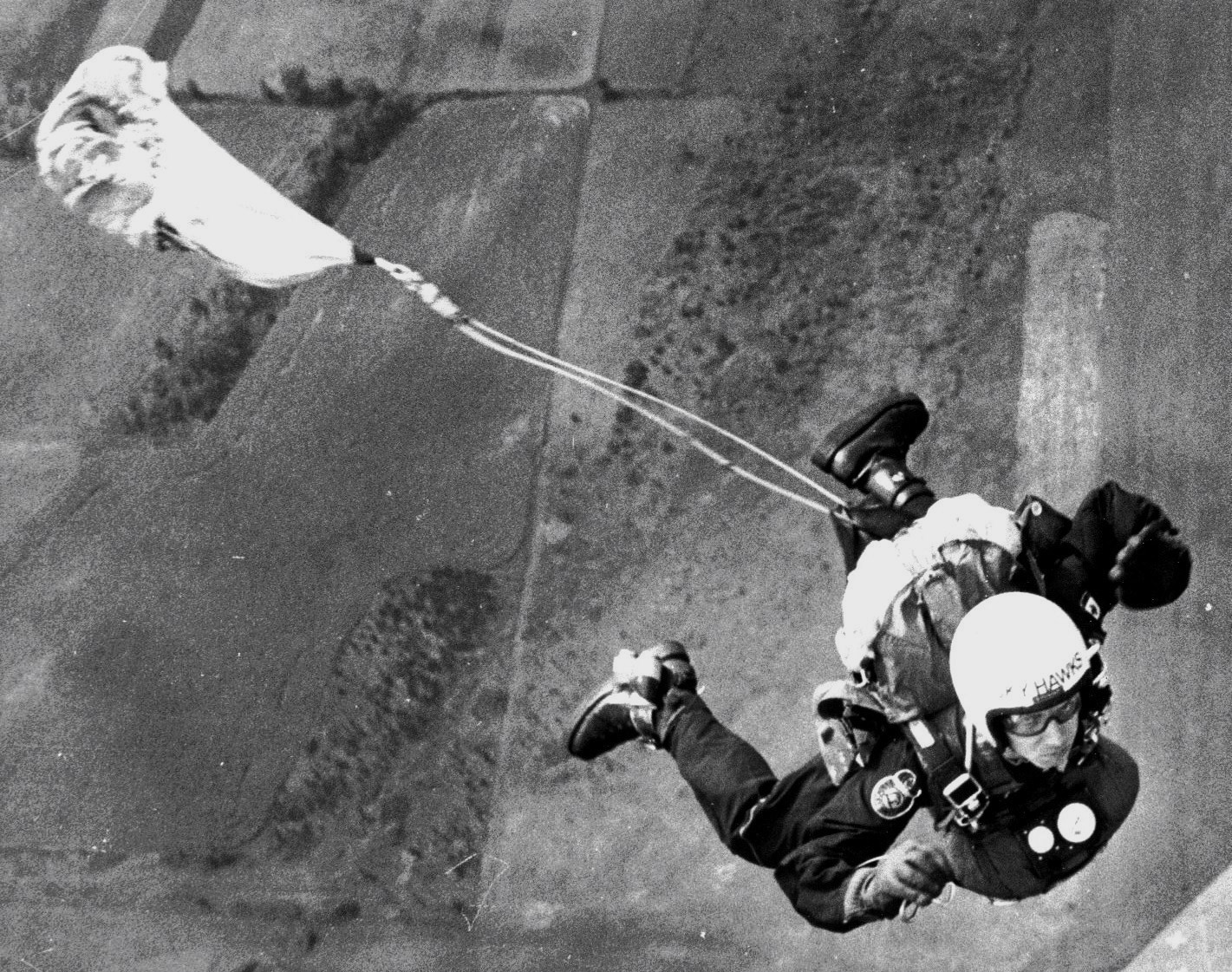 Canadian Forces Parachute Team, the Skyhawks, Author exiting a de Havilland Single Otter over Mountainview, Ontario, Aug 1977.