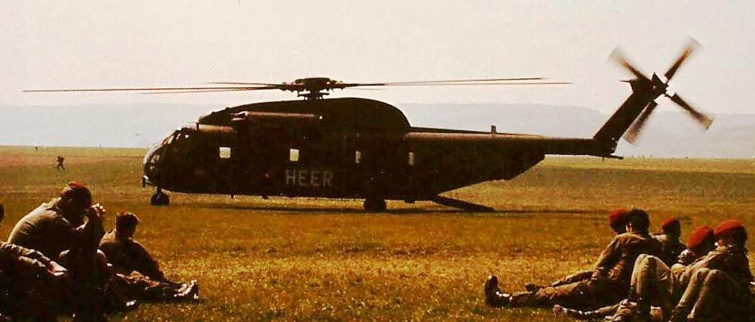 Hal earned his German Army Parachute wings jumping out of this Sikorsky Sea Stallion with 1 Luftlanddivision, at Calv, Germany, 30 June 1982