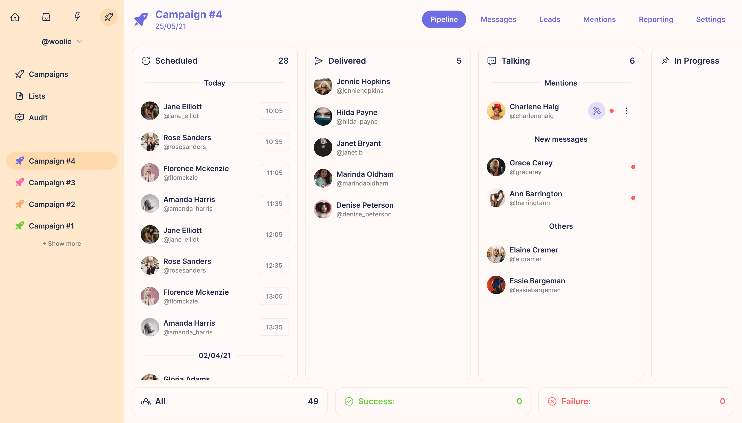 """Light mode interface of the """"Grow"""" solution"""